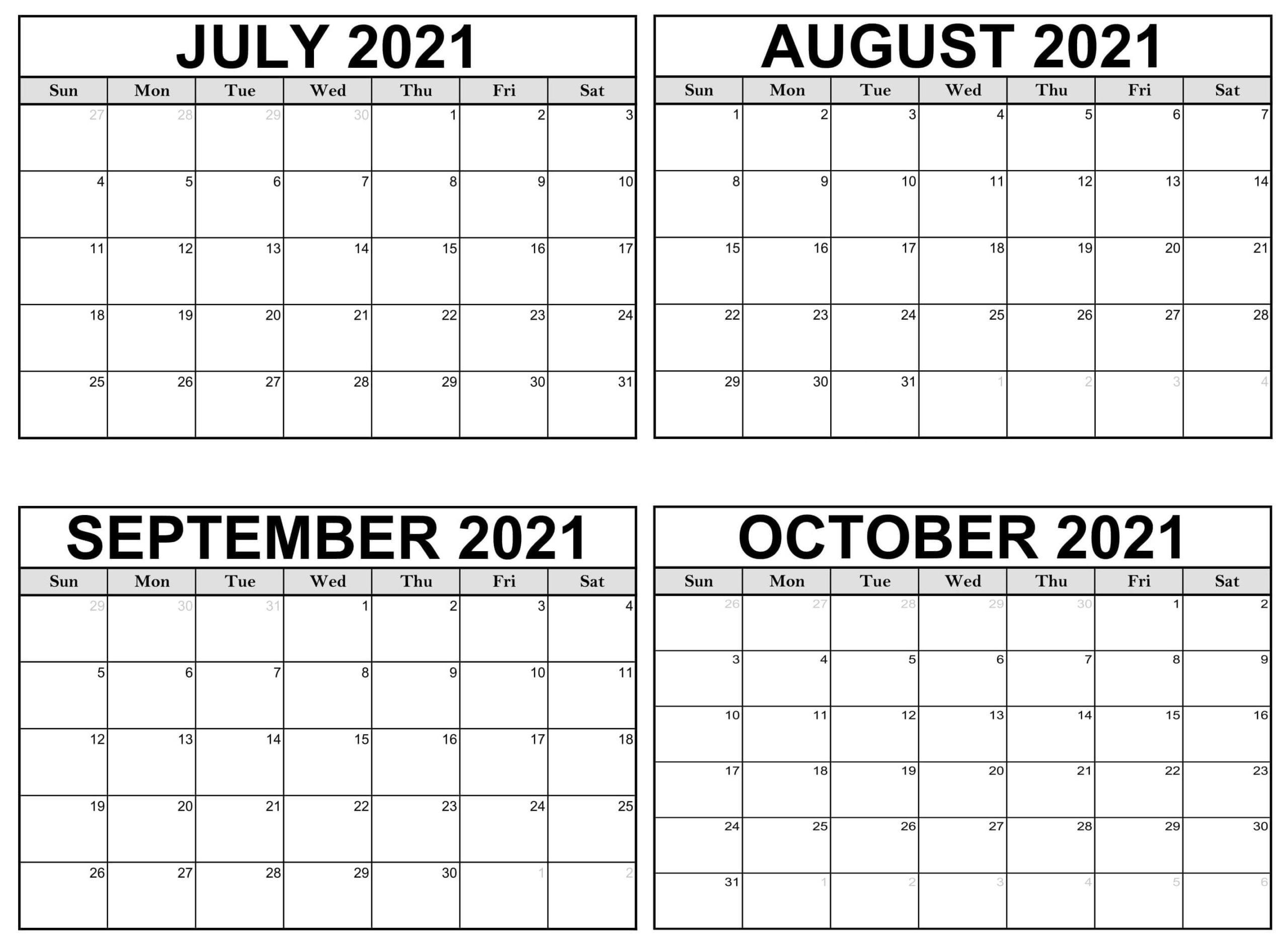 Printable July to October 2021 Calendar
