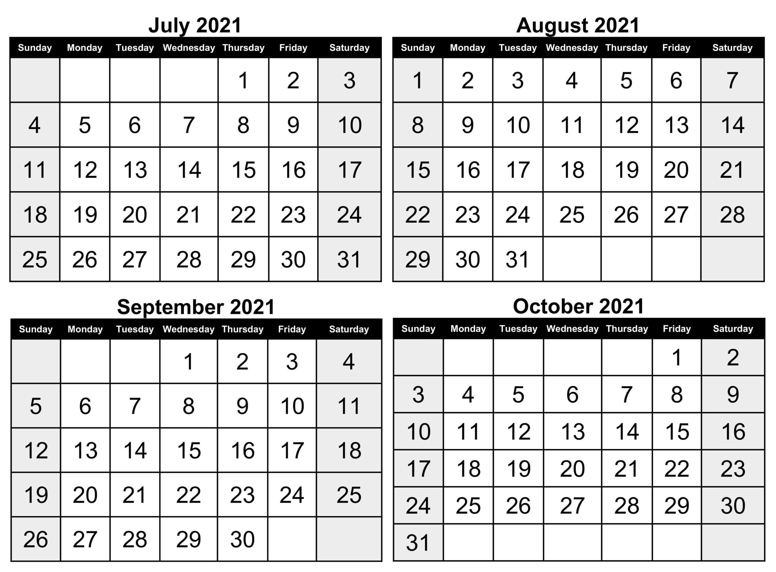 Printable July to October Calendar 2021