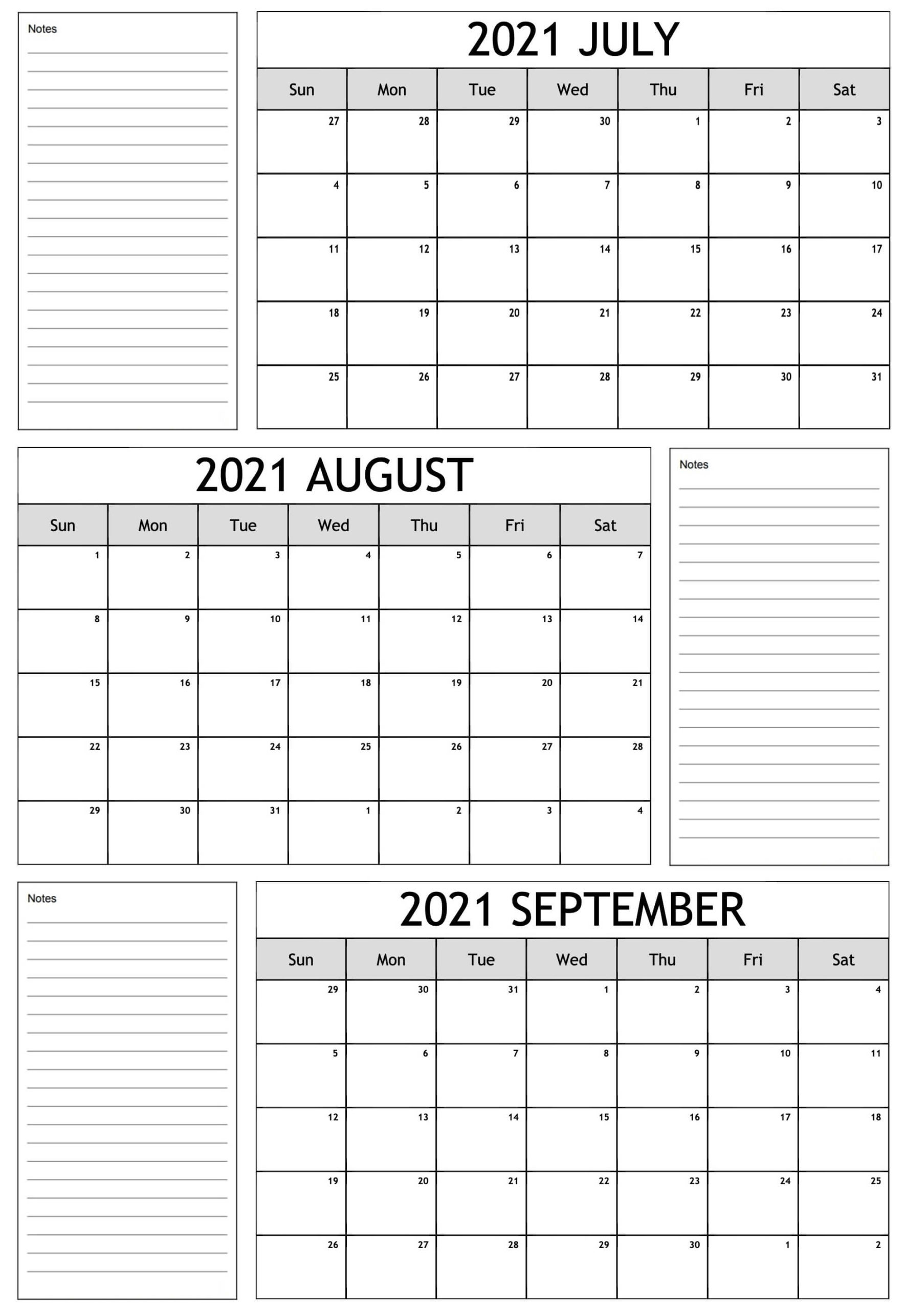 Quarterly Calendar From July 2021